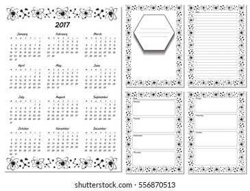 Set Pages Template Daily Planner Printable Stock Vector Royalty