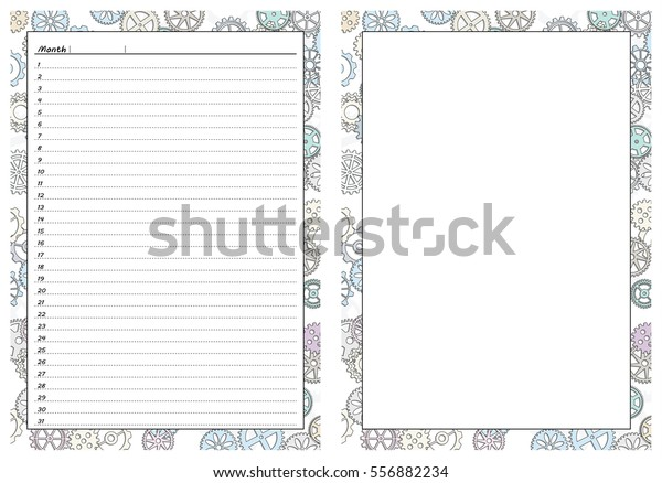 picture about Printable Gears identified as Fixed Web pages Template Day by day Planner Printable Inventory Vector