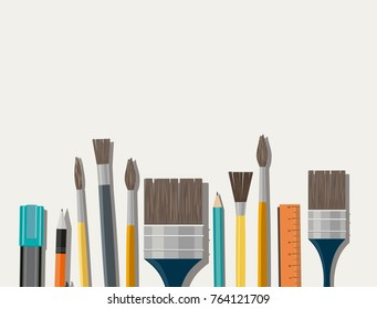 Set of paint brush on white background. Different models of brushes for painting isolated.