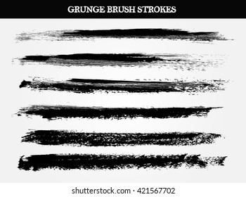 Set of paint brush strokes.Grunge brush stroke.