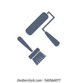Set of Paint Roller and Brush Icon Vector flat design style