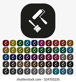 Set of paint roller and brush. Vector icon. Flat design style