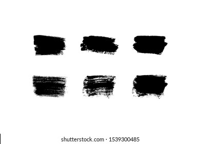 Set of paint stains, sloppy brush strokes. Vector isolated illustration. Place for text.