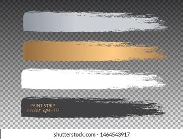 Set of paint streaks .Strip paint Banner - Vector.Golden grunge lines.