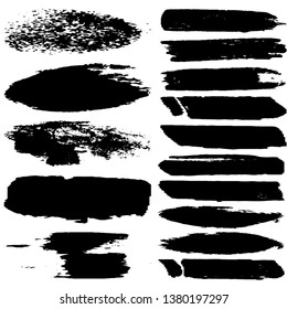 Set of paint strokes with a dry brush