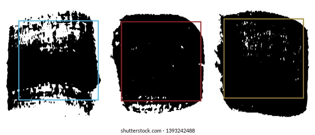 Set of paint strokes. Spot black with space for text. Abstract monochrome background
