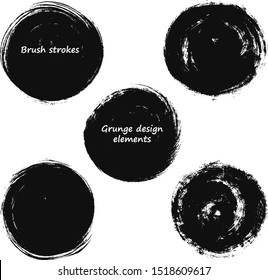 Set of paintbrush circle strokes. Grunge brush design elements. Lines High Detail Abstract Vector Background for round text boxes, Grungy painted banners. Ink splatters.