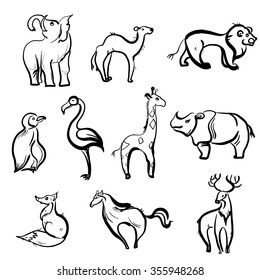 a set of painted animals camel, Fox, elephant, giraffe, horse, flamingo, penguin, lion