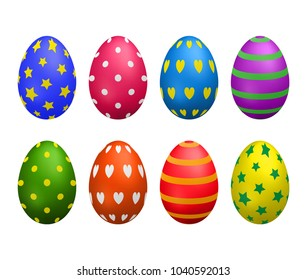 Set of painted colorful realistic eggs for Easter isolated on white background.