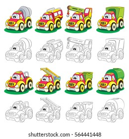Set of painted and coloring book cartoon truck. The set includes a cement mixer, SUV, crane, van, pickup, a ladder; tipper, tank.