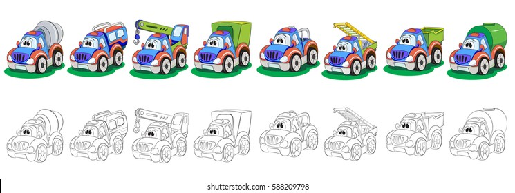 Set of painted and coloring book cartoon truck. The set includes a cement mixer, crane, van, pickup, a ladder, tipper, tank.
