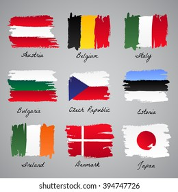 Set of painted flags of different countries: Austria, Belgium, Italy, Bulgaria, Czech Republic, Estonia, Ireland, Denmark, Japan. Vector sketch illustration collection.