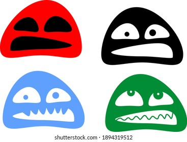 set of painted monsters of different colors and emotions