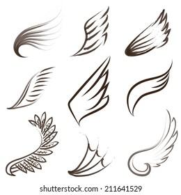 Set of painted wings. Design workpiece