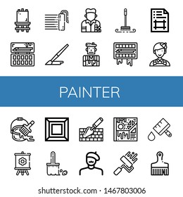 Set of painter icons such as Canvas, Painting palette, Paint roller, Brush, Painter, Artist, Artboard, Paint bucket, Art, Trowel, Paint brush , painter