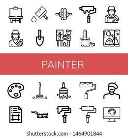 Set of painter icons such as Easel, Artist, Paint brush, Trowel, Roller, Painter, Paint roller, Brush, Painting, Paint palette, Artboard, Painting palette , painter