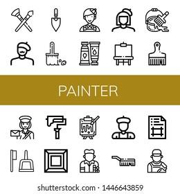 Set of painter icons such as Paint brush, Painter, Trowel, Brush, Paint tube, Easel, Paint bucket, Postwoman, roller, Art, Painting, Artist, Artboard , painter
