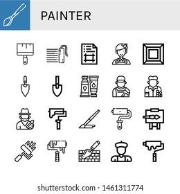 Set of painter icons such as Paint brush, Painting brush, Paint roller, Artboard, Painter, Art, Trowel, Paint tube, Artist, Brush, Roller Easel, Roller , painter