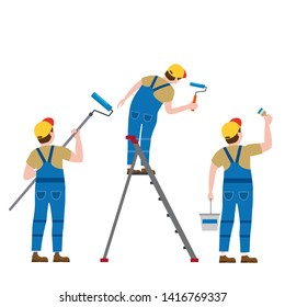 Set Painter proffessional characters man at work. Male painters in uniform applying paint to wall with paint roller, brush, paint bucket, on the stepladder. Vector, isolated, cartoon style