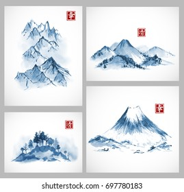 Set of paintings of blue mountains hand drawn with ink. Traditional oriental ink painting sumi-e, u-sin, go-hua. Contains hieroglyphs - happiness, clarity. Vector illustration.