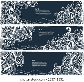 Set of paisley banners