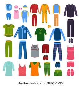 A set of pajamas, nightgowns, shirts, slippers for men, women, children, babies. Vector illustration.