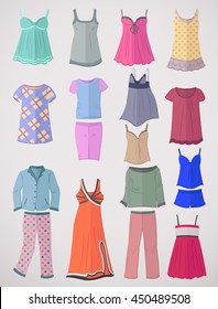 Set of pajamas and nighties in flat design