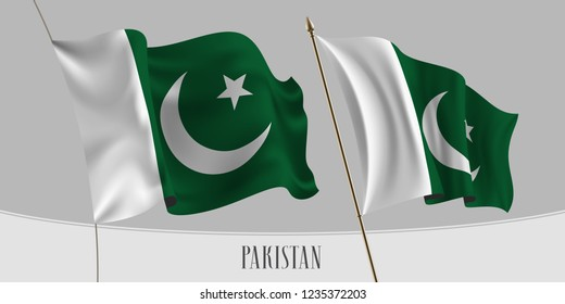 Set of Pakistan waving flag on isolated background vector illustration. Green, white stripes of Pakistani wavy realistic flag as a patriotic symbol