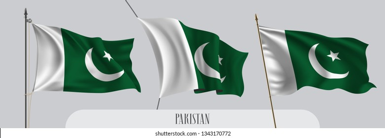 Set of Pakistan waving flag on isolated background vector illustration. 3 green white Pakistani wavy realistic flag as a patriotic symbol