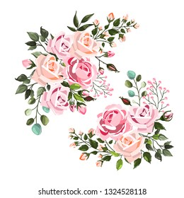 Set of pale pink rose wedding flowers bouquets arrangements with green leaves. Floral branch for wedding invitation save the date or greeting card design. Vector illustration in watercolor style