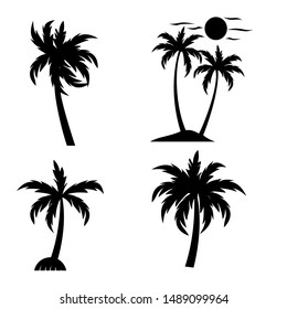 the set of palm tree vector silhouette with black and white
