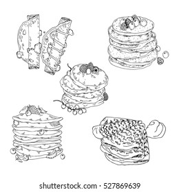 Set of pancakes and crepes on white background. Hand drawn vector illustration.