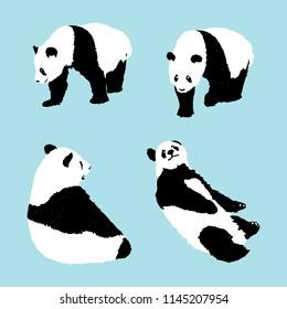 set of panda on blue background, wildlife animal vector illustration