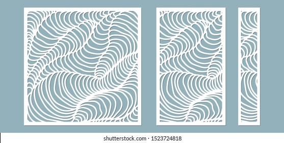 Set, panel for registration of the decorative surfaces. Abstract lines panels. Vector illustration of a laser cutting. Plotter cutting and screen printing.
