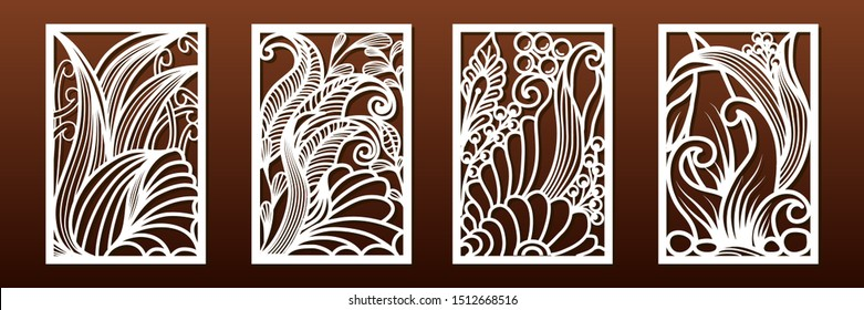 Set of panels for laser cutting, vector. Templates for wood or metal cut, fretwork stencil, paper art, card or interior design. Abstract underwater pattern with floral and sea shell elements.
