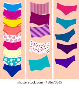 Set of panties Vector illustration Women's panties: with lace, with patterns, mixed color