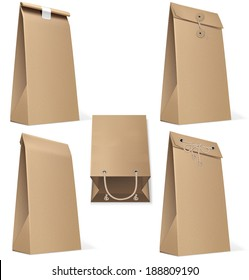 Set of paper bags isolated on white. Vector Illustration