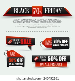 Set of paper banner for Black Friday sale. Vector illustration.