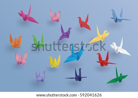 Set Paper Birds On Blue Background Stock Vector Royalty Free