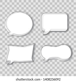 Set of paper bubbles for text as in comics with lines and shadow, place for your text. Transparent background, idea, pop-up text, advertising, vector illustration.