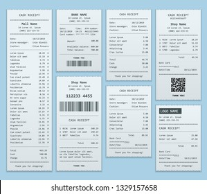Set Paper check and financial check isolated. Cash register sales receipts printed on thermal rolled paper. Cash receipt vector illustration