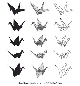 Set of paper cranes on white. Origami in vector