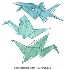 set of paper cranes painted in watercolor,  hand drawn vector illustration painted in green and blue watercolor, hand drawn design elements