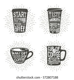 Set of paper cups silhouette with lettering and sunburst. Creative vector illustration with phrases about coffee. Typography design used for poster, card, banner, advertising cafe or shop.