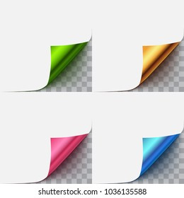 Set of paper curled vector corner isolated on transparent background