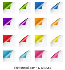 Set of paper curls in various colors