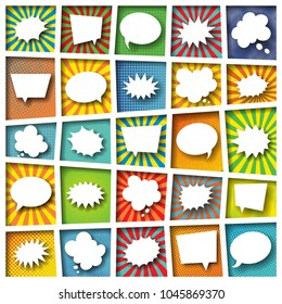 set of paper cut speech and explosion bubbles, thought clouds with smooth shadows in colorful boxes with radial lines  and halftone dots in pop art style