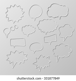 Set of paper cut vector doodle drawing abstract shape symbols. eps-10