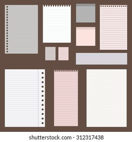 set of paper designs. paper sheets, lined paper and note paper