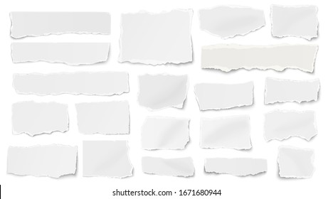 Set of paper different shapes ripped scraps fragments wisps isolated on white background. Vector illustration.